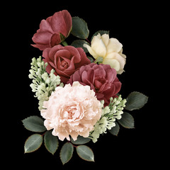 Fototapeta Jesień Dark red and white roses, peony, lilac isolated on black background. Vintage floral arrangement, bouquet of garden flowers. Can be used for invitations, greeting, wedding card.