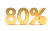 Gold 80 Percent Discount Sale Promotion. 80% Discount Isolated On White Background
