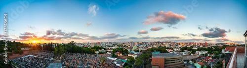 Panorama skyview of Porto Alegre city with amazing sunset, Rio Grande do Sul, Br Wallpaper Mural