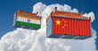 Freight container with China and India flag. 3D Rendering