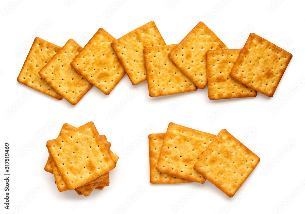 Fototapeta Crushed dry cracker cookies isolated on white background.