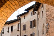 Historic Buildings In Piazza Libertà Square In Valvasone, Friuli Venezia  Giulia, Italy, Europe