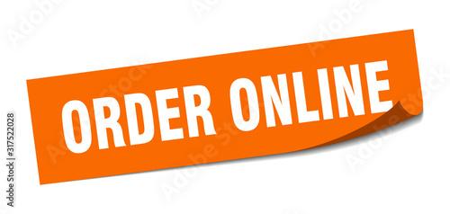 Fototapeta order online sticker. order online square sign. order online. peeler obraz