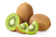 Group Of Whole Kiwi Fruits And...