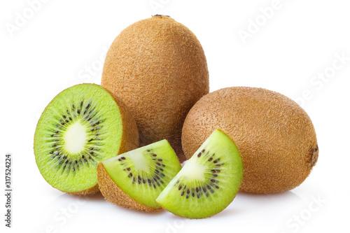 Obraz na plátně Group of whole kiwi fruits and kiwi slices, isolated on white