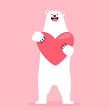 Vector Illustration Of A Bear Holding A Big Heart