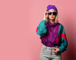 canvas print picture - Beautiful blonde woman in sunglasses and 90s clothes