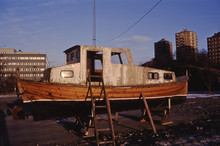 Derelict Boat On Dry Land