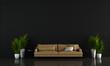 Leinwanddruck Bild - Modern interior design of black living room interior design and wall tile texture background