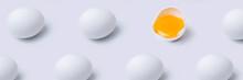 Pattern Of Eggs On White Backg...