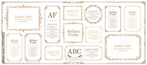 Obraz 美しいビンテージ調のフレームデザインセット ウエディングカード アンティークな素材 - fototapety do salonu