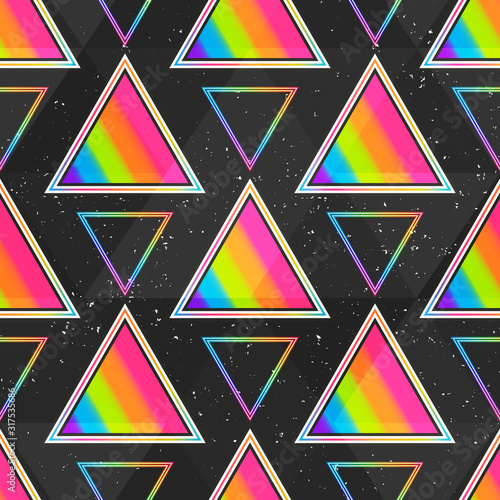 obraz dibond Rainbow triangle seamless pattern.