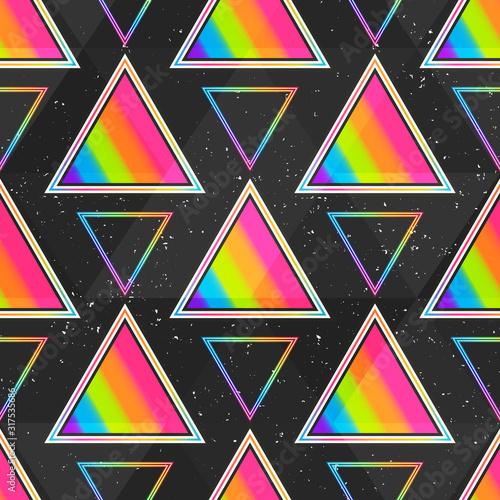 fototapeta na ścianę Rainbow triangle seamless pattern.