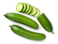 Mini Cucumbers Isolated On Whi...