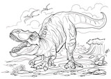 Fototapeta Dinusie - Tyrannosaurus. Dinosaur coloring page for children and adults, hand drawn illustration. A4 size. Design for wallpapers, packaging, postcards and posters. Black and white. Wild nature