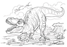 Tyrannosaurus. Dinosaur Coloring Page For Children And Adults, Hand Drawn Illustration. A4 Size. Design For Wallpapers, Packaging, Postcards And Posters. Black And White. Wild Nature