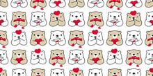 Bear Seamless Pattern Heart Va...