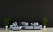 Leinwanddruck Bild - modern loft black living room interior design and wooden wall background