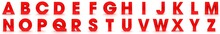 Letters Red 3d Three-dimensional Alphabet Text Signs Capital Character On White Background