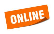 Online Sticker. Online Square Sign. Online. Peeler