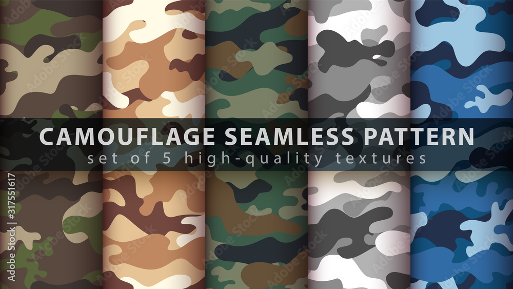 Fototapeta Set camouflage military seamless pattern