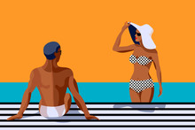 Retro Summer Poster With A Handsome Man And Beautiful Woman Talking And Sunbathing. Vintage Banner With A Happy Couple. Great Banner For Beach Party, Hotel Vacation Ads. Summer Background.