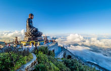 Landscape With .Giant Buddha Statue On The Top Of Mount Fansipan, Sapa Region,  Lao Cai, Vietnam