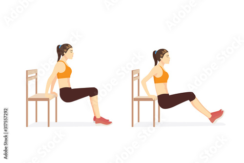 Woman doing Triceps Dips with bench in 2 step for exercise guide Fototapete