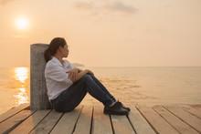 Beautiful Woman Sitting Alone ...