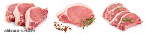 Fototapeta sliced raw pork meat isolated on white background. Top view. Flat lay. Set or collection obraz