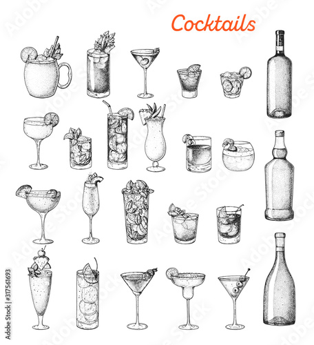Cuadros en Lienzo Alcoholic cocktails hand drawn vector illustration