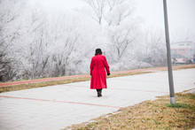 The Old Lady In A Red Coat Wal...