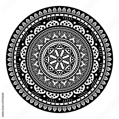 Ethnic Mandala Ornament. Arabic, Pakistan, Moroccan, Turkish, Indian, Spain motifs