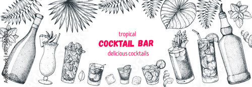 Fototapeta Alcoholic cocktails hand drawn vector illustration