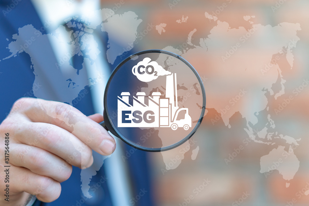 Fototapeta ESG concept of environmental social and corporate governance in sustainable and ethical business.