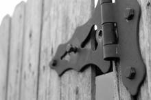 Closeup Decorative Fence Hinge