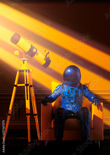 Photo Astronaut in a blue bodysuit sitting near a yellow telescope under sun rays conc