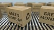 Cartons with GREEN MONDAY text move on conveyor. Loopable 3D animation