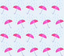 Pink Umbrella And Rain Drops Background Seamless Pattern. Vector Illustration