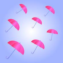 Pink Umbrella Flying On Blue Sky. Vector Illustration