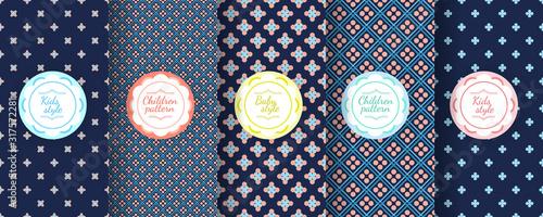 Obraz Kids colorful seamless pattern. Cute Baby design background. - fototapety do salonu