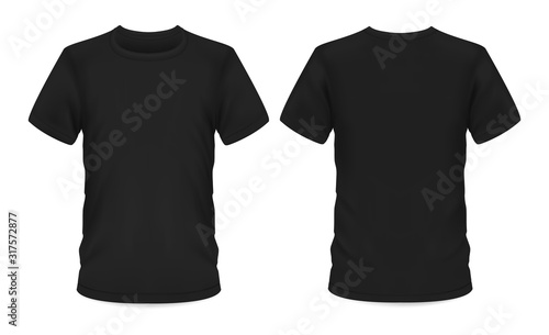 Obraz Mockup template, men black t-shirt short sleeve - fototapety do salonu