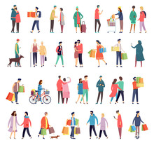 Flat Icons Of People Daily Activity And Shopping