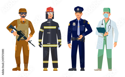 Fototapeta Doctor, policeman, fireman, military guard men