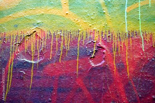 Besprayte Mauer mit Farbschlieren Canvas Print