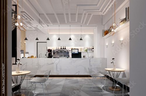 Foto 3d render of cafe and restaurant