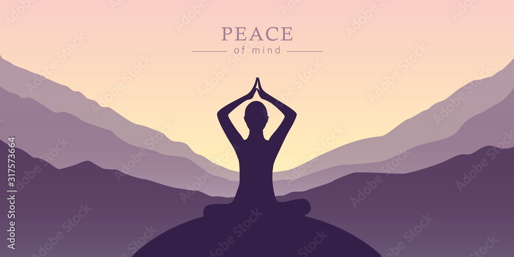 Fototapeta peace of mind meditation concept silhouette with mountain background vector illustration EPS10
