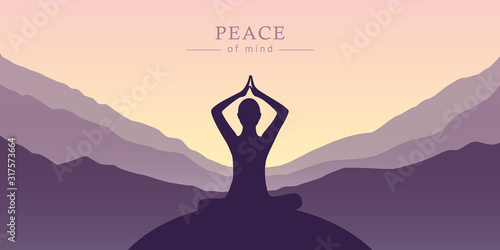Obraz peace of mind meditation concept silhouette with mountain background vector illustration EPS10 - fototapety do salonu