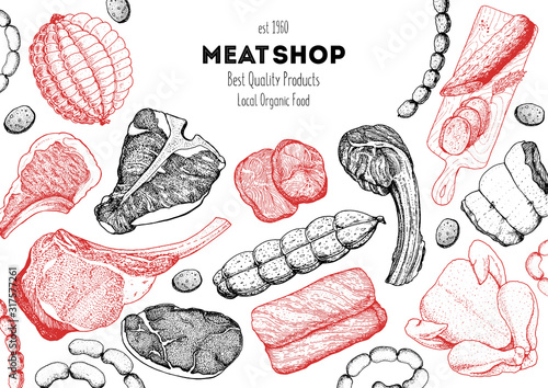 Fototapeta Meat products top view frame. Vector illustration. Engraved design. Hand drawn illustration. Pieces of meat design template. Great for package design. Chicken, beef, pork, sausage, lamb, ham sketch. obraz na płótnie