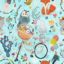 Seamless Pattern With Cute Ani...